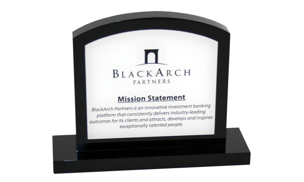 Custom Investment Bank Mission Statement Display