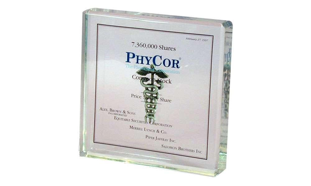 Medical-Themed Acrylic with Embedded Caduceus | PhyCor