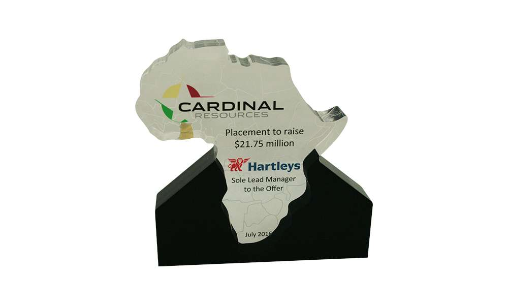 Lucite Tombstone in Shape of Africa