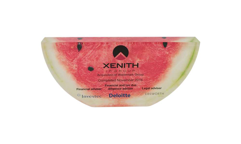 Watermelon-Themed Lucite Tombstone