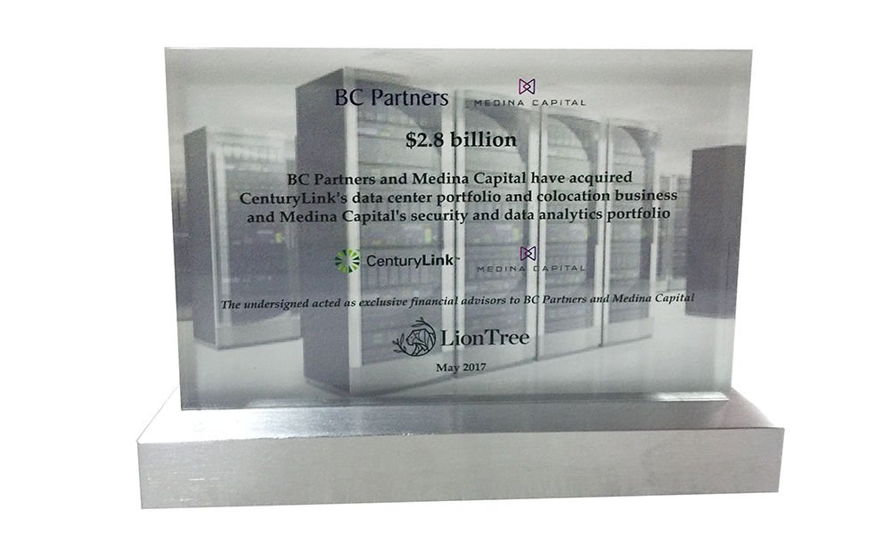 Data Center-Themed Financial Tombstone