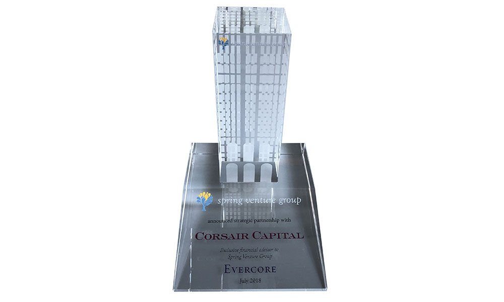 Office Building-Themed Lucite Tombstone