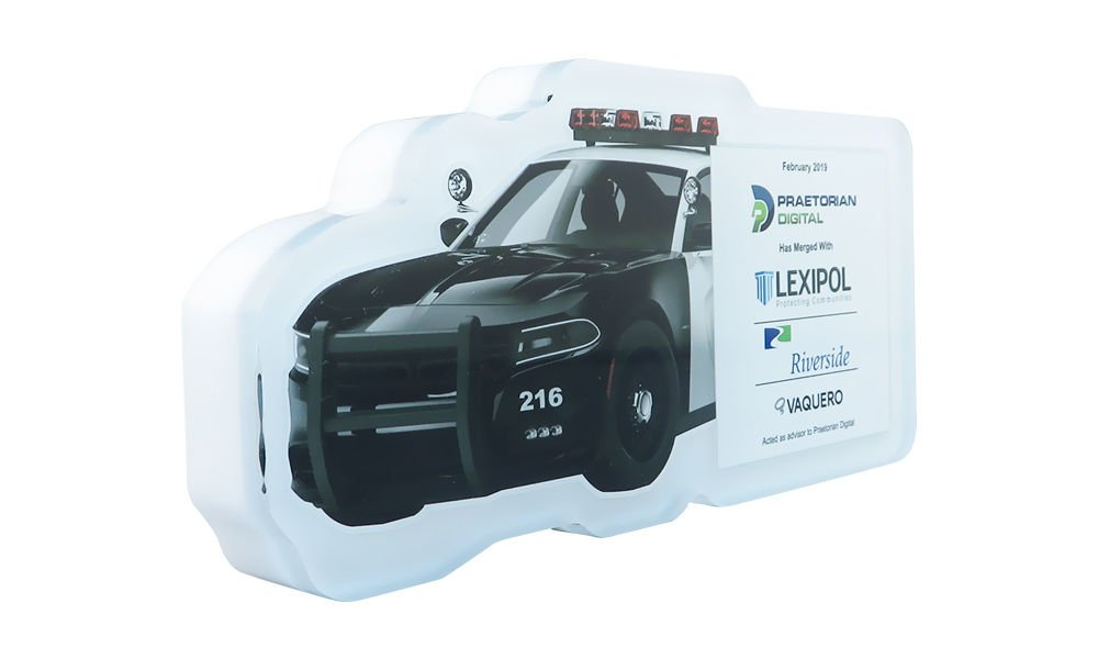Police Car-Themed Lucite Tombstone