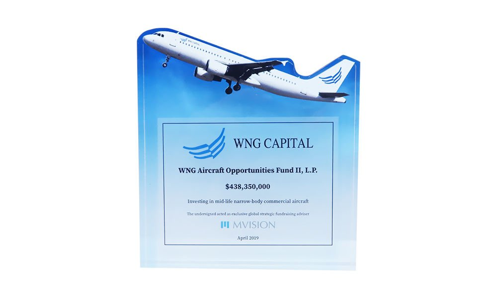 Airplane-Themed Fund Closing Tombstone
