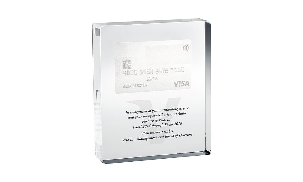 Visa Credit Card-Themed Crystal Award
