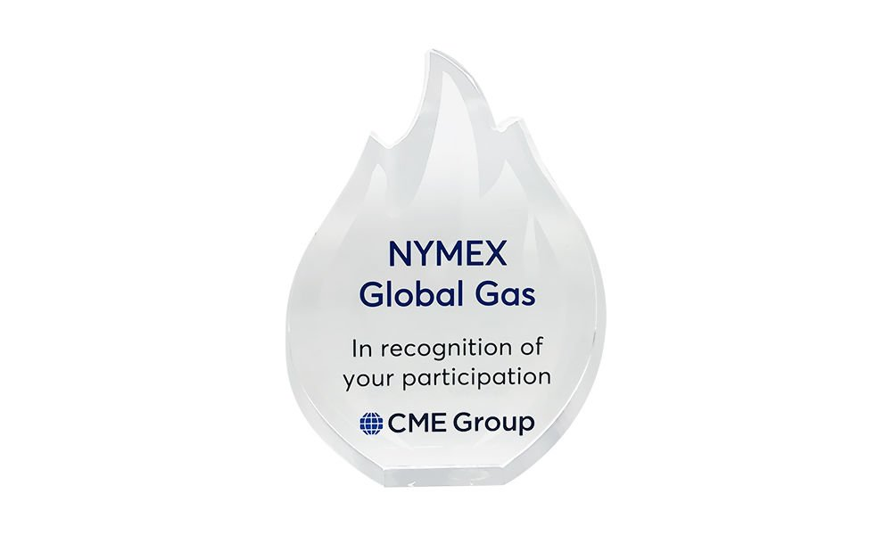 Flame-Themed Custom Crystal Award