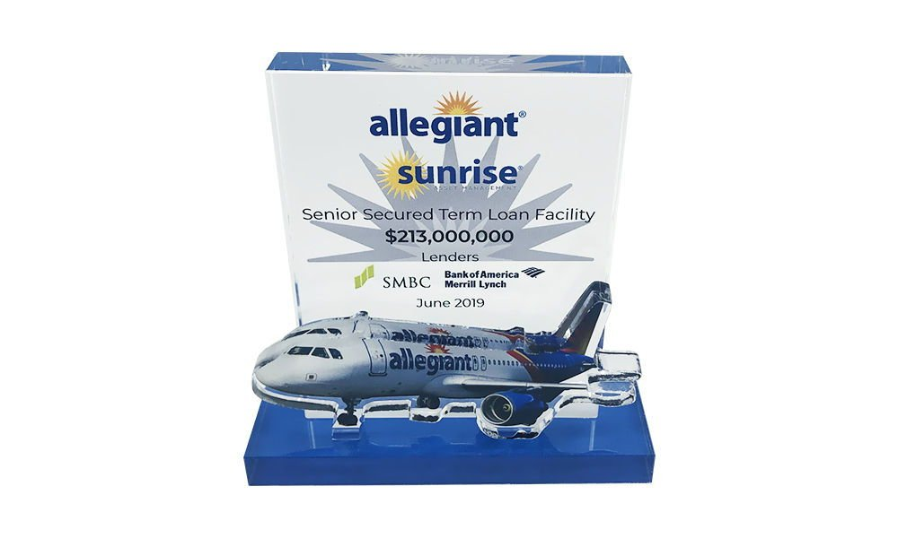 Airplane-Themed Crystal Tombstone