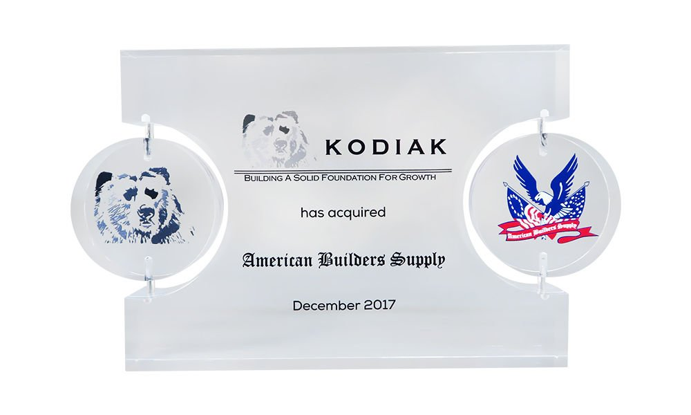 Lucite Tombstone with Spinning Logos